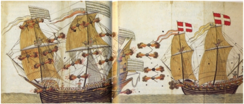 A larger Swedish warship engaged in ordnance battle with a smaller Danish as depicted in Rudolf Dewenter's Berich von Pulver und Feuerwerken from 1585, a manuscript dedicated to King Frederik II and used in the education of Prince Christian (later Christian IV). The essence of this, that well-armed and maneuverable smaller vessel can do much damage to a larger vessel (grossen abbruch und Schadten), reflects a philosophy that came to be embraced in northwestern Europe in the late 16th century, marking the inception of impersonal warfare (adopted from Wittendorff 2012).