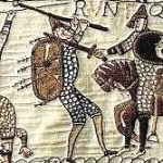 Axeman on the Bayeux Tapestry depicting the Battle of Hastings.