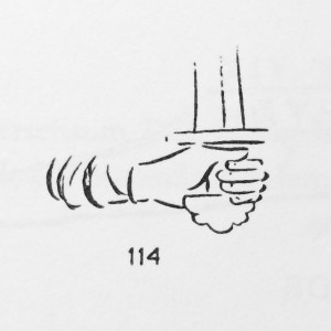 Figure 2. Hand with pommel as depicted in the Bayeux tapestry (from Davidson 1962).