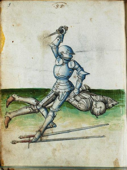 Fig. 7b::  Early 16th century dagger combat depicted in Paulus Kal (Solothurner version) folio 55 (adopted from Solothurner Fechtbuch (Cod.S.554). Wiktenauer: A HEMA Alliance Project).