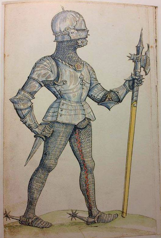 Fig. 3a: Depiction from the Paulus Kal Fechtbuch folio 17v ( late 15th century) of man with mail beneath his plate armour (adopted from Paulus Kal Fechtbuch (MS Chart.B.1021), Wiktenauer: A HEMA Alliance Project.)