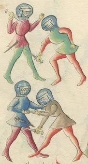 Fig. 7a:  Early 16th century dagger combat depicted in Eyb Kriegsbuch folio 30v (adopted from Eyb Kriegsbuch (MS B.26). Wiktenauer: A HEMA Alliance Project).