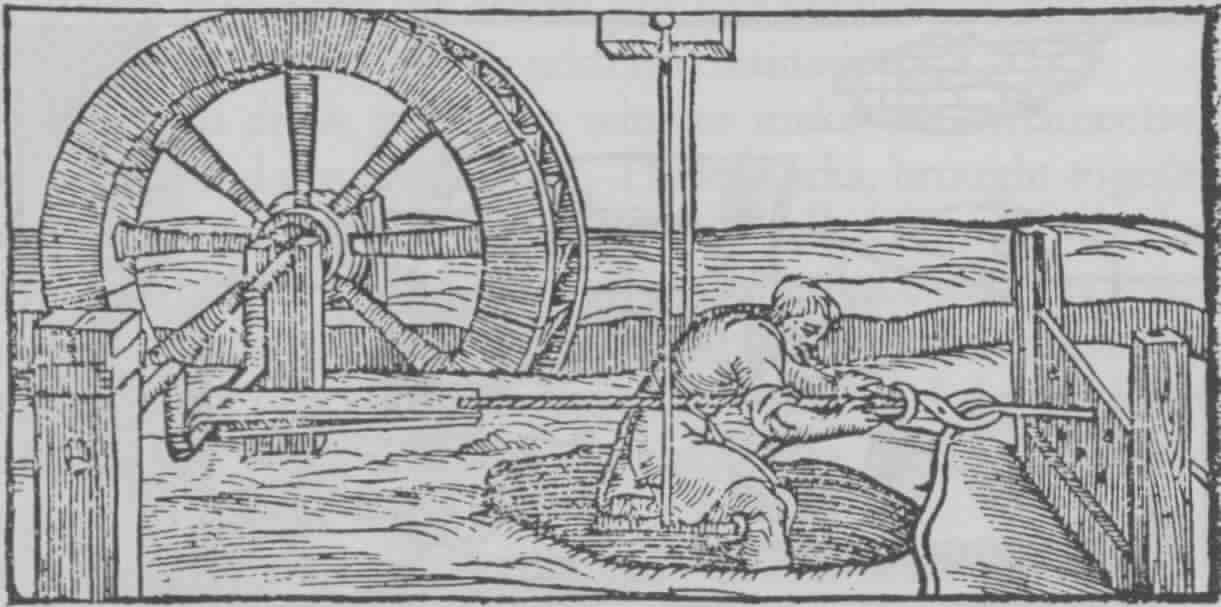 Fig. 4: Drawing of heavy wire by an undershot waterwheel (adopted from Biringüccio 1990 [1540]: 380).