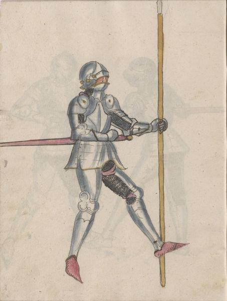 Fig. 3a: Depiction from the Thun Sketchbook folio 12v (late 15th century) of a man with mail beneath his plate armour (adopted from Thun Sketchbook. Wiktenauer: A HEMA Alliance Project).