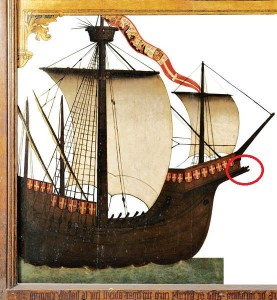 Fig. 8: Detail taken from the ex-voto showing the Zumaia, flagship of Martínez de Mendaro's fleet (adopted from Lopez 2015).