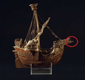 Fig. 10: The Mataró ship model dated to the mid-fifteenth century (adopted from Lopez 2015)