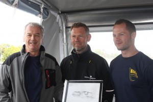 A happy team appeared at the press conference after the expedition. Some members featured here. From the left: Professor Jon Adams, who made the drawing in the picture,  Marcus Sandekjær (director of Blekinge Museum) and Rolf Warming (Combat Archaeology).