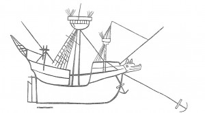 fig. 10: Carving of a ship from Sæby Church in Denmark. The carving possibly dates to the turn of the 16th century or early 16th century. The carving also features anti-boarding netting, shown by the lines which are penetrated by the masts (adopted from Christensen 1969: 87).