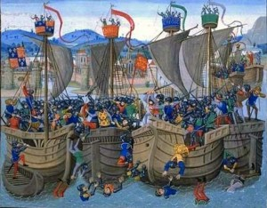 Fig. 8: Detail of Battle of Sluys from Jean Froissart's Chronicles from the 14th century, contained in Bibliotheque Nationale MS Fr. 2643.