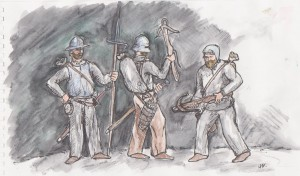 Fig. 3: The levied peasants with their traditional weapons.