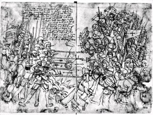 Fig. 4: A scene from the Danish siege of Old Älvsborg Fortress in 1502, drawn by German Landsknecht Paul Dolnstein in 1502. Here, too, the Swedish forces, consisting of poorly equipped peasant soldiers, had to fight against the pikes and swords of professional forces of the Danish King John I.  Although of an earlier date, the depiction offers great insight into what Rantzau's encounters with the Swedish peasant soldiers and militia  might have looked like in 1567.