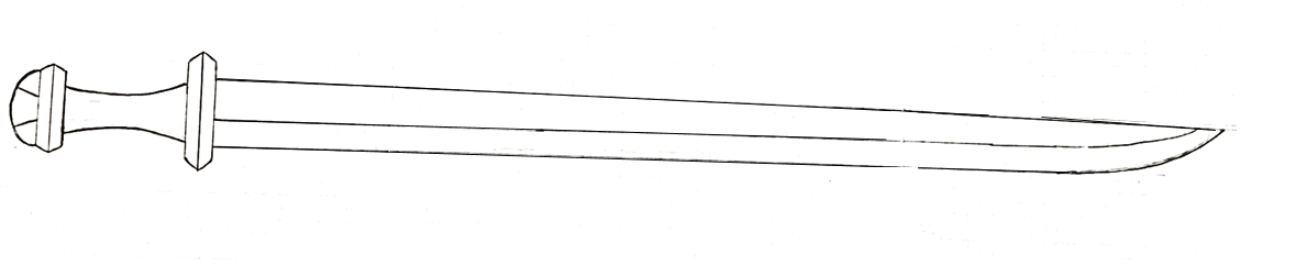 Schematic drawing of the single-edged sword. Drawing: courtesy of Tord Bergelin, edited by Rolf Warming.
